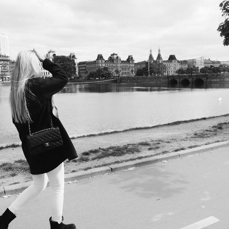 #Me #walking #today #black and #white #girl #bag #blonde #chanel #summer #Cph #Copenhagen