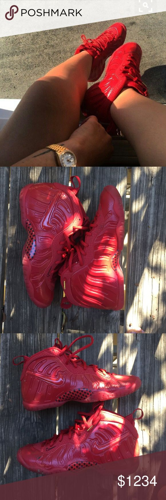 October Red Foamposites Looking to swap, 6.5y fits women's 7.5-8 cash offers welcomed  *disclaimer- cover photo is India love - the rest of photos belong to me ft. My toes lol 100% authentic- I do not wear fake shoes. Bought from footlocker Nike Shoes Sneakers