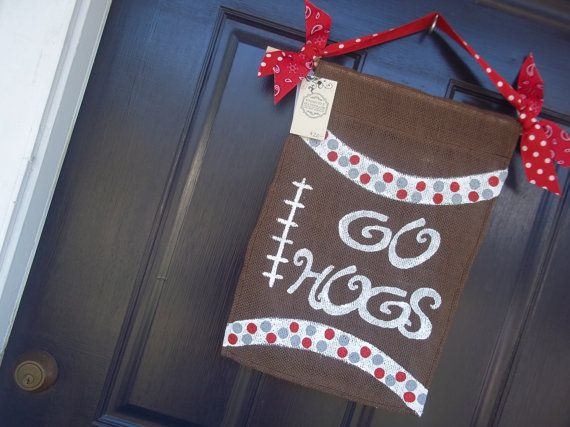 Razorback Classroom Decor : Arkansas razorback football burlap garden flag by