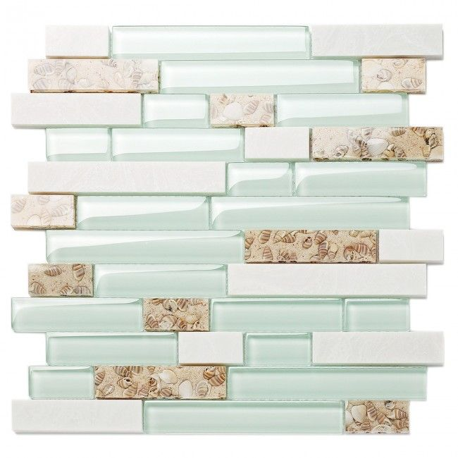 Tst Sea Green Glass White Stone Conch Beach Style Tile Kitchen Backsplash Bathroom Wall Art Tstmgt085