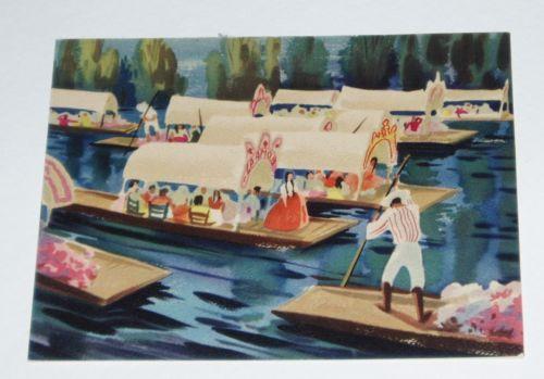 1945 Mary Blair Hallmark Greeting Card vintage Boats of Xochimilco Mexico in Collectibles, Disneyana, Vintage (Pre-1968), Cards | eBay