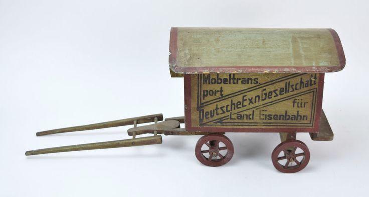 Antique German Folk Art Painted Wood Horse Drawn Railroad Wagon Toy  | eBay