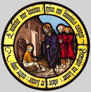 Hirschvogel Workshop, after Sebald Beham: Roundel with Christ Healing the Blind Man, colourless and pot-metal glass with vitreous paint, 307...
