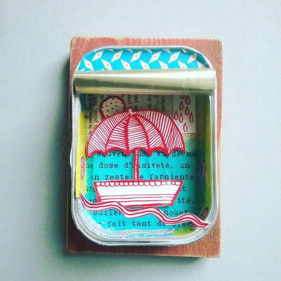 Boot illustratie paraplu kerstcadeau als cadeau door DelarbreenBulle
