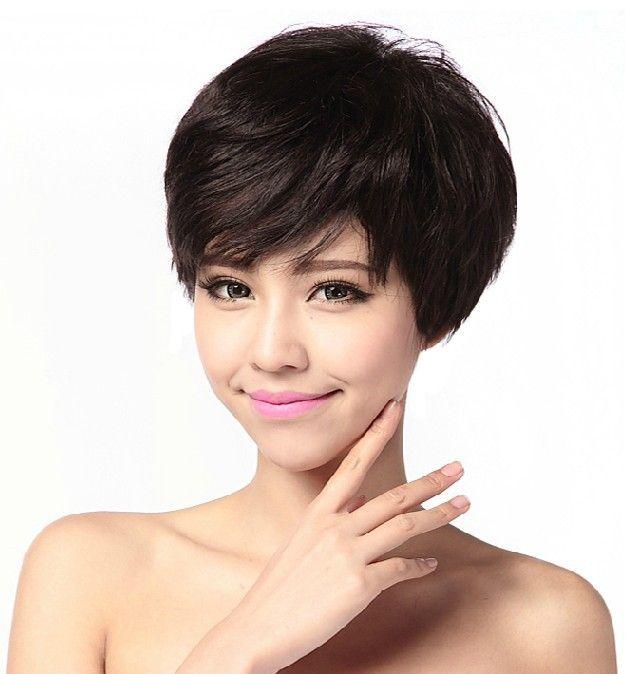 Настоящие волосы парики женщины с короткими волосами, слегка завитые парик пайн навес Z156