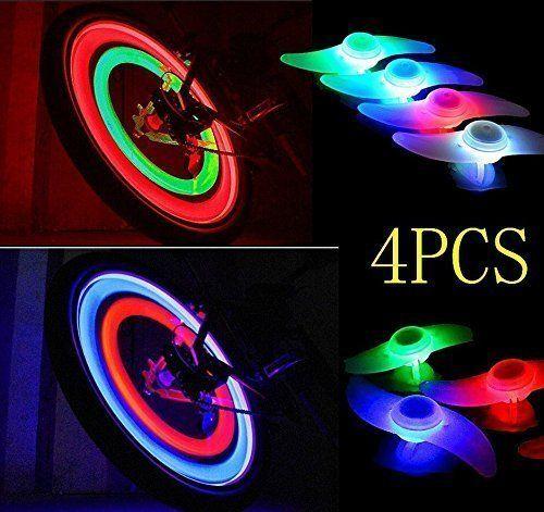 agooding 4pièces multicolore voiture vélo Roue Valve du pneu bonnet rayons Néon LED Lampe/Lampe de sécurité pour rayons de roue de rayons…
