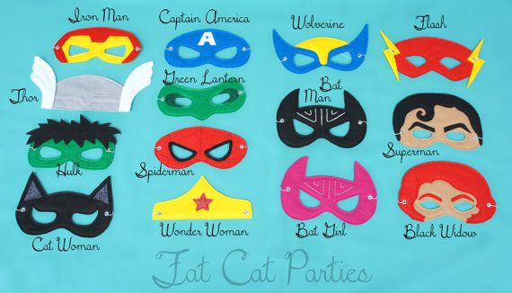 Set of 5 Party Pack  Super Hero Capes Masks and by FatCatParties, $125.00