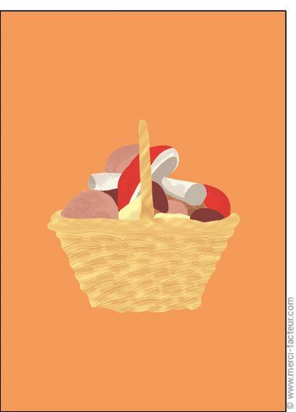 #carte #illustration #couleur #autumn #leaves #color #plantes #café #cards #snail #autumn #plants #leaves #mushroom #coffee Carte #Panier de #champignons pour envoyer par La Poste, sur Merci-Facteur !
