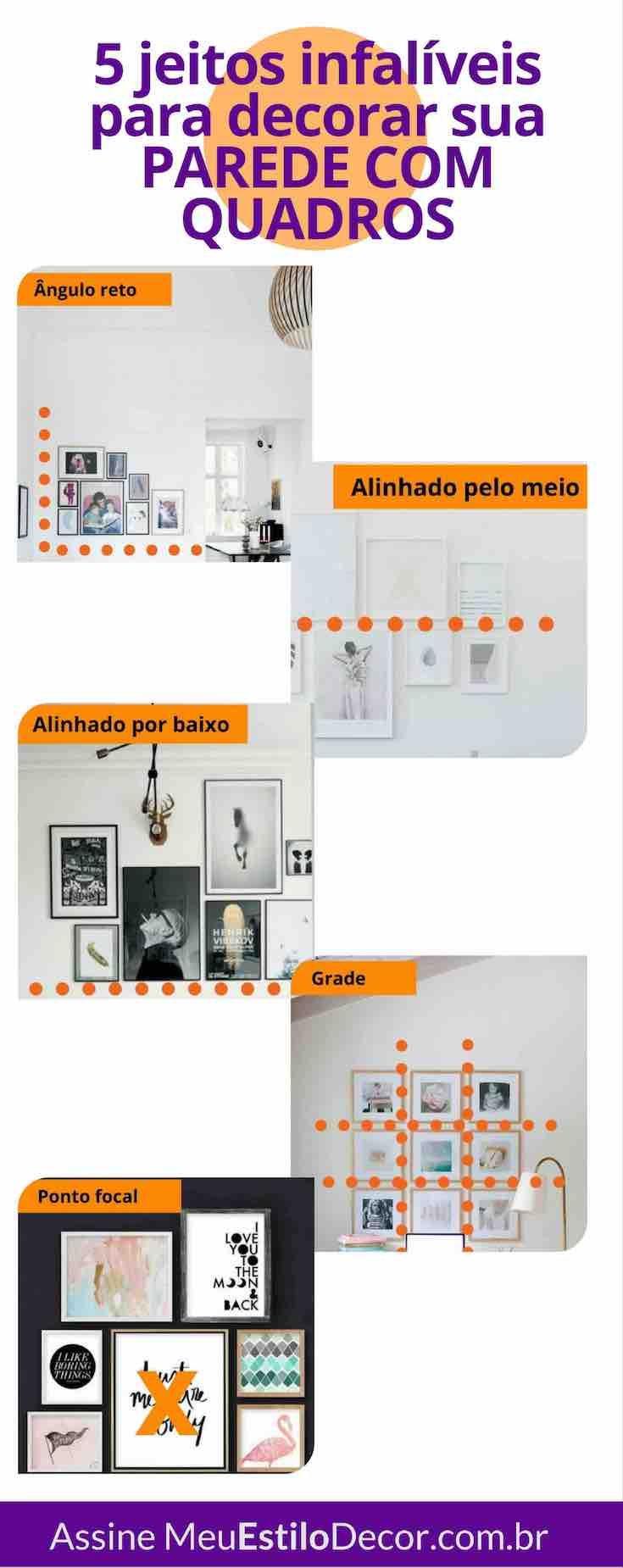 Aprenda 5 jeitos infalíveis de decorar sua parede com quadros - Como o meu trabalho é facilitar a sua vida, eu vou te ensinar 6 jeitos infalíveis de montar a sua parede galeria. E o melhor, não importa se você tem poucos ou muitos quadros, sempre vai funcionar.