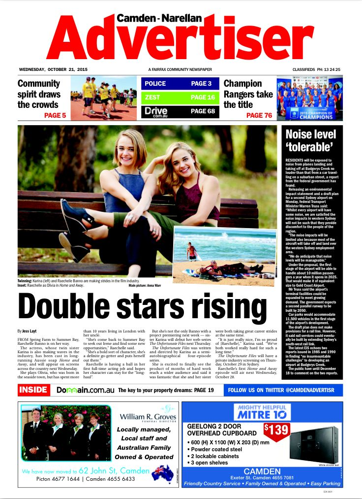 Karina Banno with her twin sister, Raechelle Banno, on the front page of the Camden/Narellan Advertiser