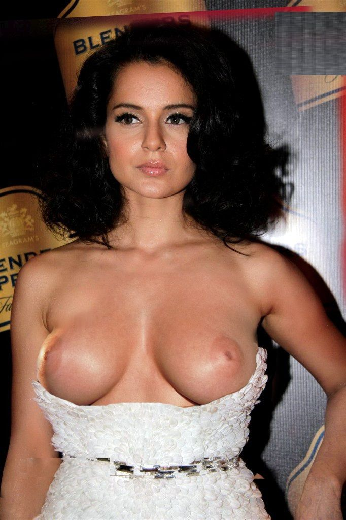 Indian Actress Kangana Ranaut Topless Boobs Photo  Aub In -4558