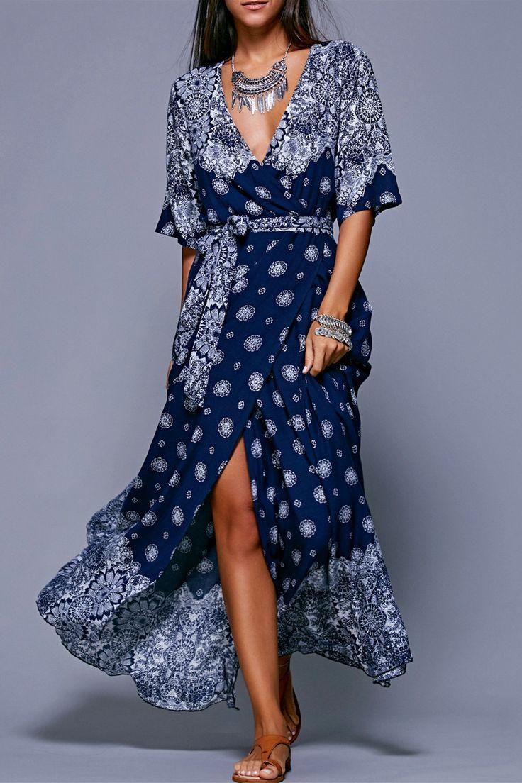 $14.74 Bohemian Style Tie Belt High Slit Dress