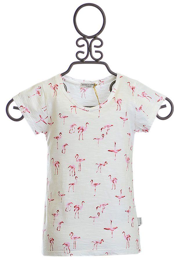 Sticky Fudge V-Neck Tee in Flamingo Print
