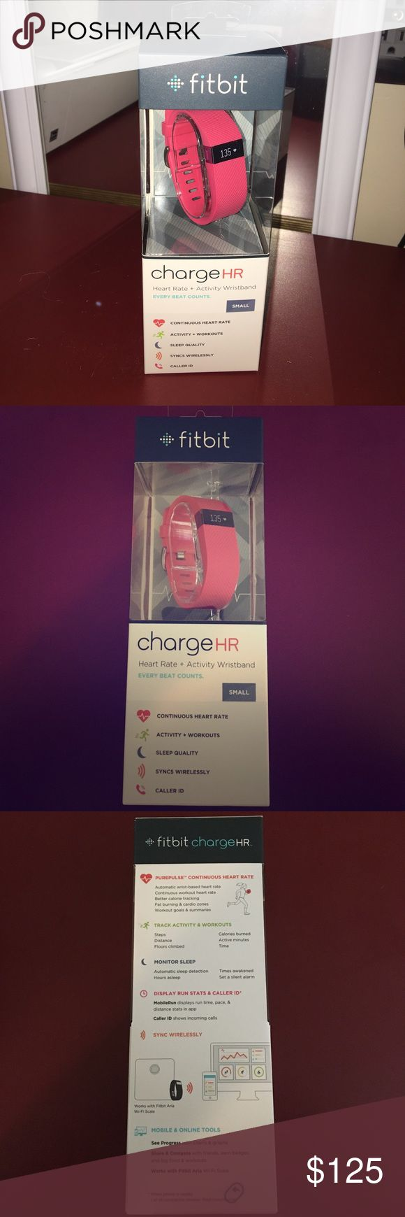 Small Pink FitBit Charge HR BRAND NEW IN BOX! Pink Fitbit Charge HR. A high-performance wristband with continuous heart rate and activity tracking right on your wrist. Track steps, distance, floors climbed and sleep quality and more. Stay connected with Caller ID. Charge HR wirelessly syncs to your smartphone and computer.  PurePulse Heart Rate. Activity Tracking. Auto Sleep + Silent Alarm. Exercise Tracking. Caller ID. OLED Display. Water Resistant Wireless Syncing fitbit Other