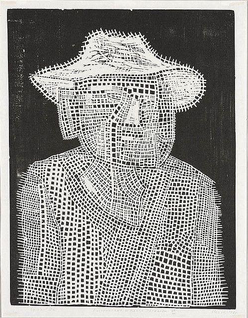 Jerzy Panek, Autoportret, drzeworyt, 22,3 x 20,4 cm, nr inw. Gr.W.1954, przekaz CBWA 1960