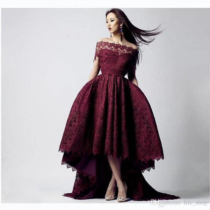 2016 Maroon Lace Prom Dresses Short Front Long Back Off The Shoulder Short Sleeves Backless Hi Lo Prom Gowns Pink Prom Dresses Uk Von Maur Prom Dresses From Life_shop, $129.45| Dhgate.Com