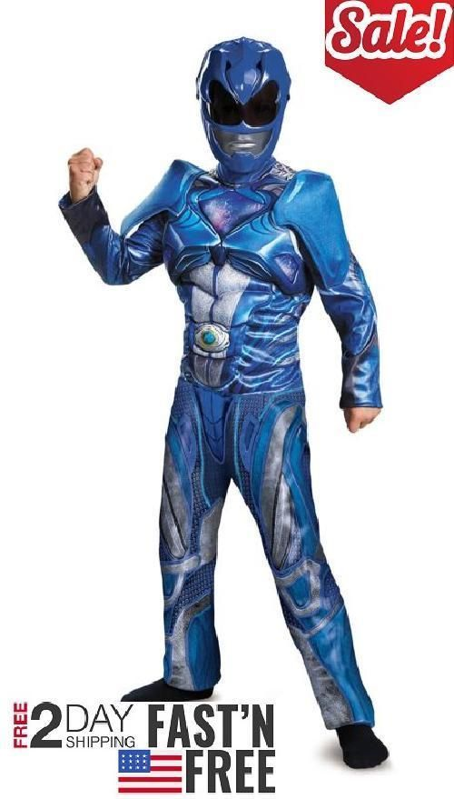 Child Costume Power Rangers Blue Ranger Classic Muscle Boy Outfit Kids Large 10- #Disguise
