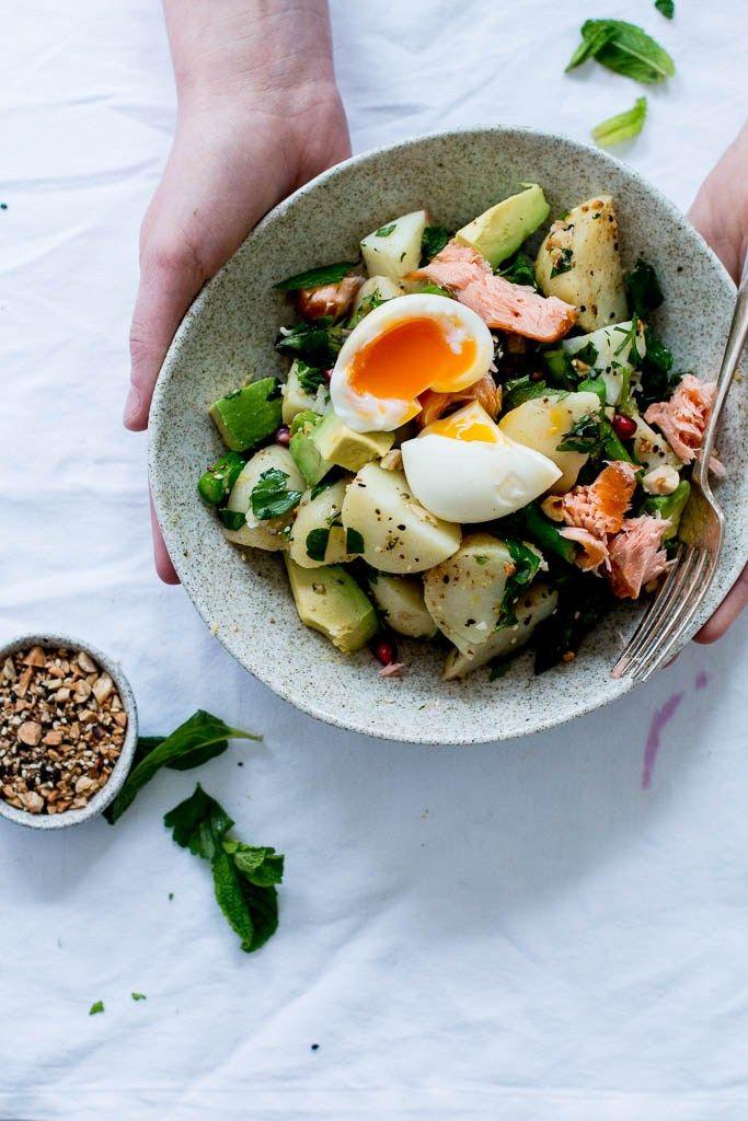 Dukkah, Asparagus & Hot Smoked Salmon Potato Salad - The Brick Kitchen
