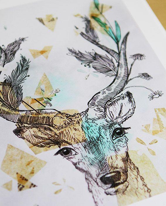 Deer Art Print Antlers Original Watercolor Painting by Sail and Swan