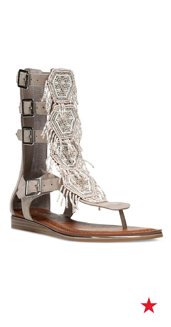 Set the stage for a standout look with these Carlos Santana Taos beaded gladiator sandals.