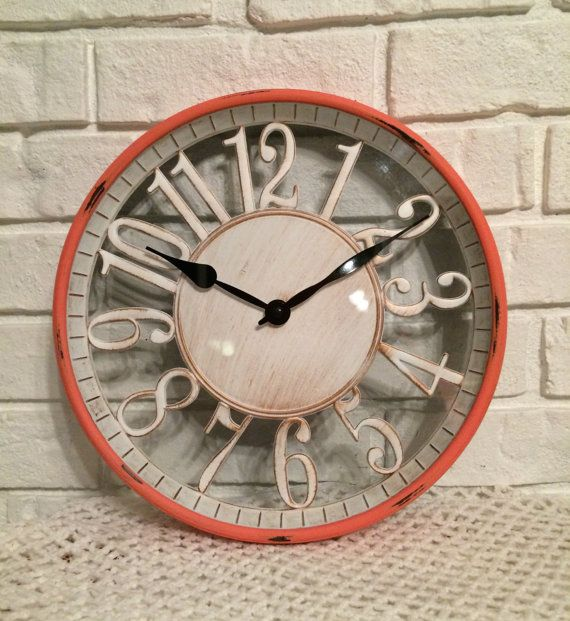 rustic wall clock coral wall clock by on etsy