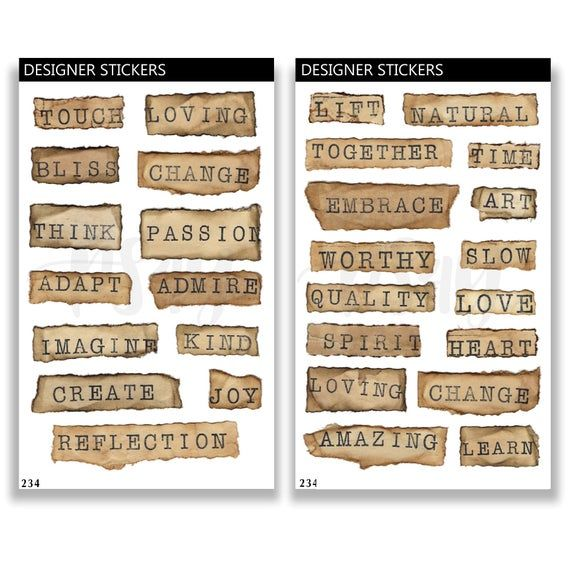 Positive Sayings Stickers Mixed Words Stickers Junk Journal