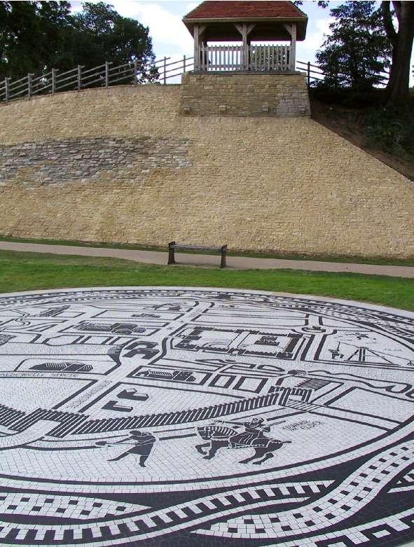 Bedford Medieval Map Mosaic Pavement - by mosaic artist Gary Drostle, Bedford Castle Park, Bedford, UK