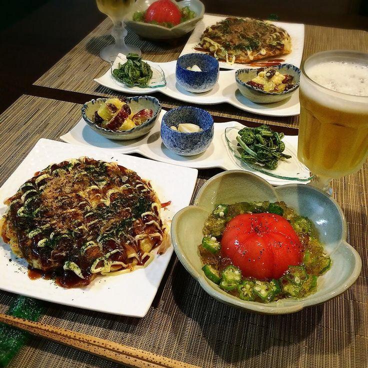 こんばんは 今夜は お好み焼き トマトとオクラのゼリー寄せ こごみのお浸し エシャロットの甘酢漬け さつま芋とレーズンのサラダ #おうちごはん#和食#夕食#晩ご飯#お家居酒屋#キッチンドリンカー#晩酌#宅飲み#ビール##dinner#instafood#yummy#inmykitchen#japanesefood#foodstag#foodpic#foodstyling#kaorintable#beer by kaorin_818