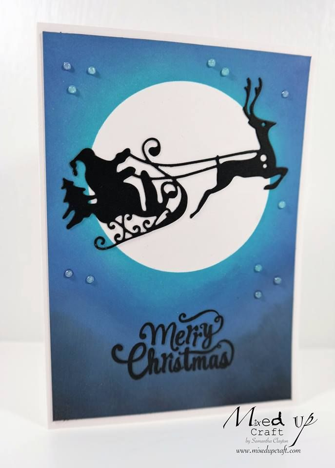 8 best hobbybase live greeting cards images on pinterest craft santa and his reindeer silhouette card made using tim holtz distress oxide inks created during m4hsunfo