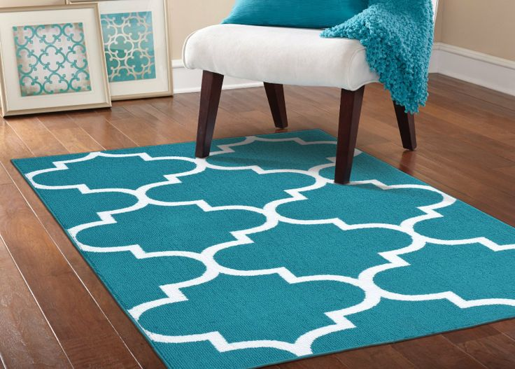 Garland rug quatrefoil area rug 5 by 7 feet teal white home decor pinterest Home furniture and rugs garland