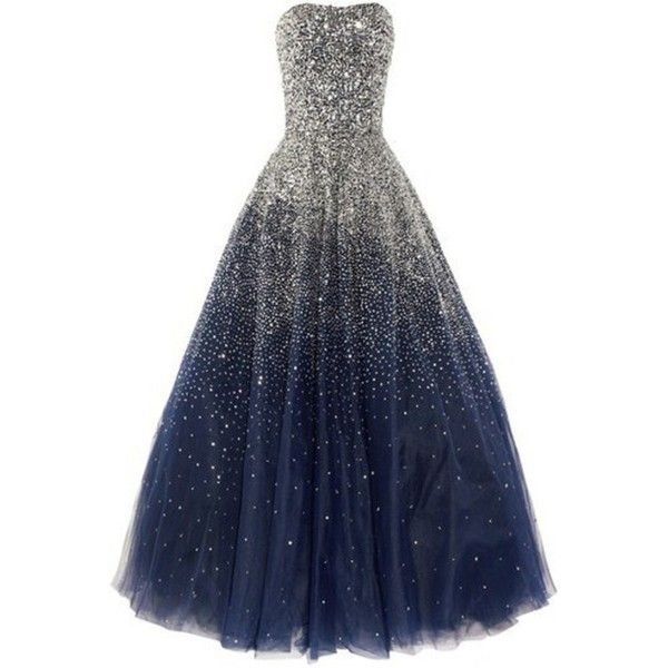 Dress: sparkle strapless dark blue sparkly prom prom long prom ❤ liked on Polyvore