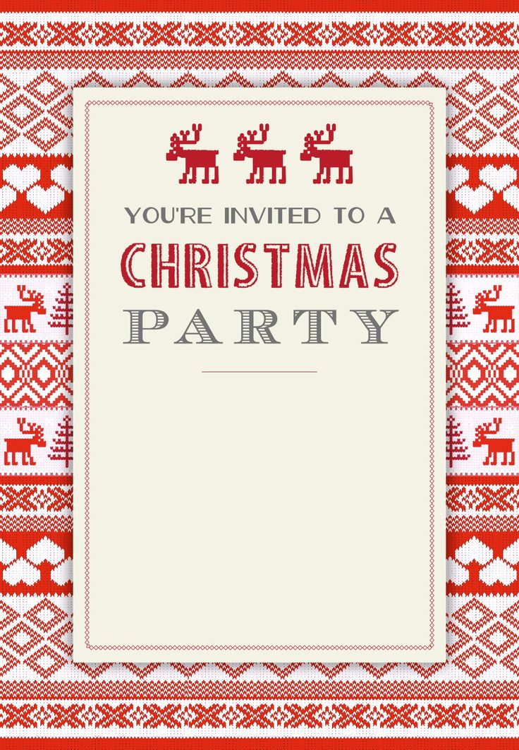 Sweaters Pattern   Free Printable Christmas Invitation Template | Greetings  Island  Free Christmas Party Templates Invitations