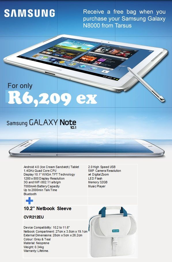 Samsung Galaxy Note 10.1. Contact laurenp@ilembetech.co.za