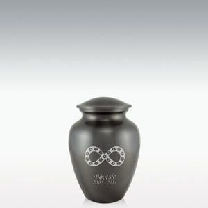 Small Paw Infinity Pet Cremation Urn - Engravable is crafted from genuine solid brass. Optional engraving and choices of poems
