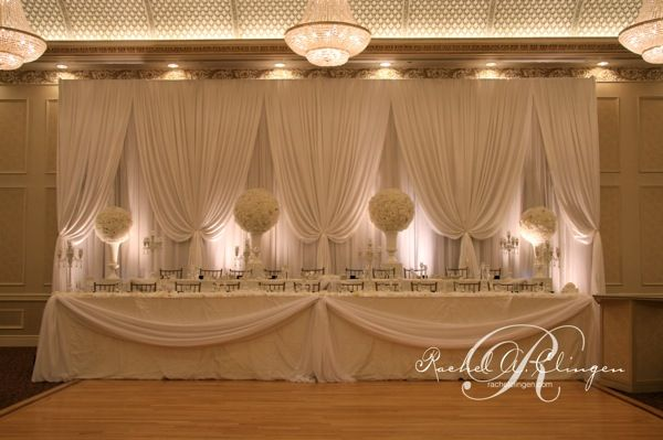 Love this wedding party backdrop - this could work at the Parish Center