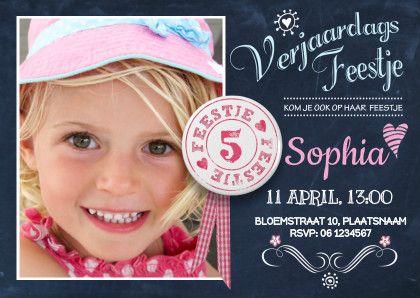 Kinderfeestje Schoolbord Hip - Uitnodigingen - Kaartje2go