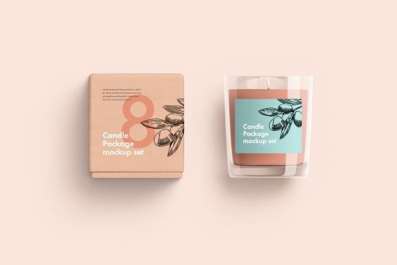 Download Candle Glass And Box Packaging Candle Mockup Candle Packaging Mockup Free Psd