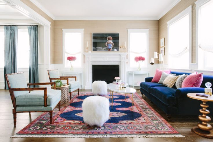 Earthy Glamour ~ Sherman Oaks, CA : Glamour Nest Interior Design, Colorful Living Room, Navy and Pink Color Palette, Navy and Pink Living Room, Navy Sofa, Traditional Sofa Paired with Modern Coffee Table, Demilune Tables Flanking Fireplace, Los Angeles Interior Design, Fort Worth Interior Design, Bamboo Arm Chairs, Moroccan Table