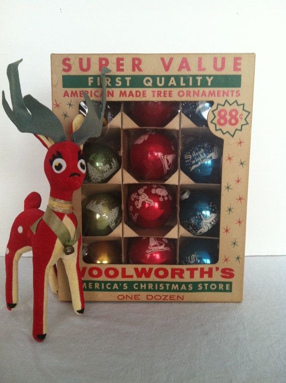 vintage 1950s woolworths mercury glass ball ornaments etched with mica red blue green gold vintage christmas - Vintage Christmas Decorations 1950s