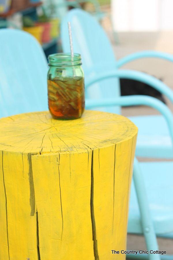 kinda loving this...painted stump table...