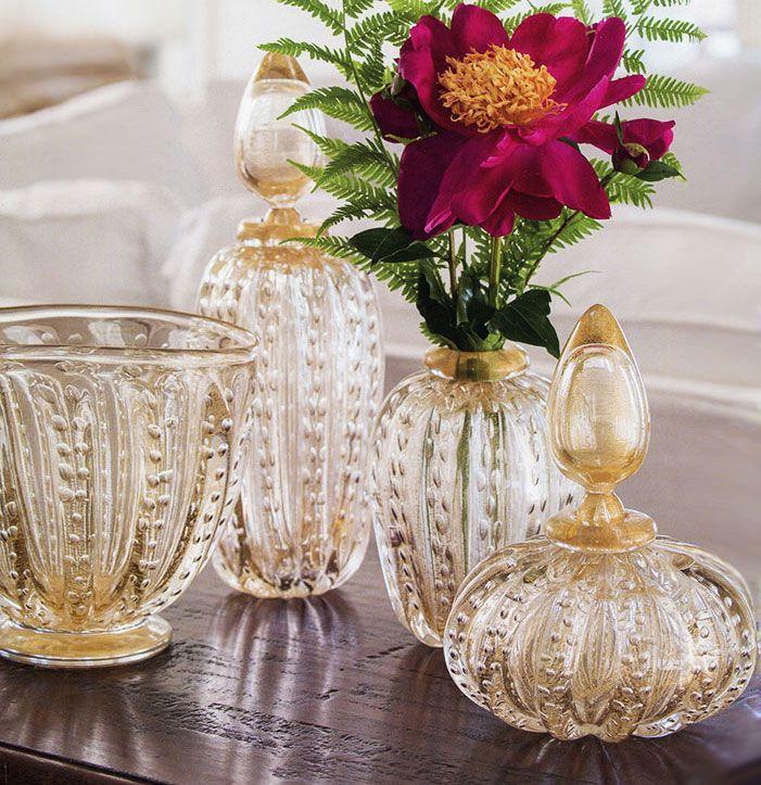 beautiful Venetian glass bottles and vases hand-blown in Murano Island, Italy