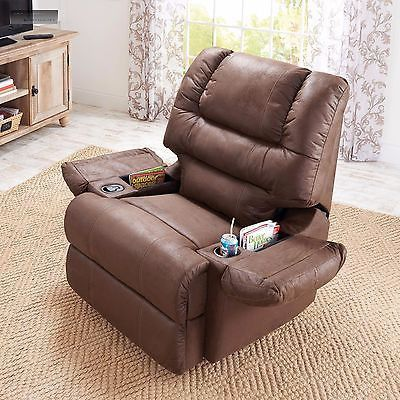 new brown rocker recliner cup holder lazy chair seat boy furniture
