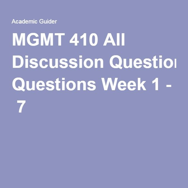 MGMT 600 Entire Course Week 1 – 8
