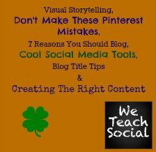 Lots and lots of social media tips - Don't make these Pinterest mistakes, 7 reasons you should blog, social media tools, blog title tips and how to create the right content and create a visual story on social media.