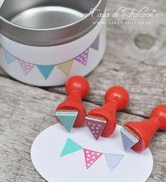 Mini Stempel Set Wimpel mini stamp Met spelpionnen? Eens kijken in de kringloopwinkel :)