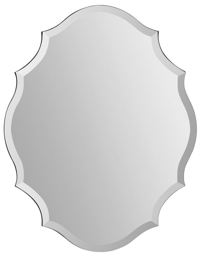 "Ren-Wil Emma Oval Mirror All Glass MT1255 - 22"" W x 28"" H."