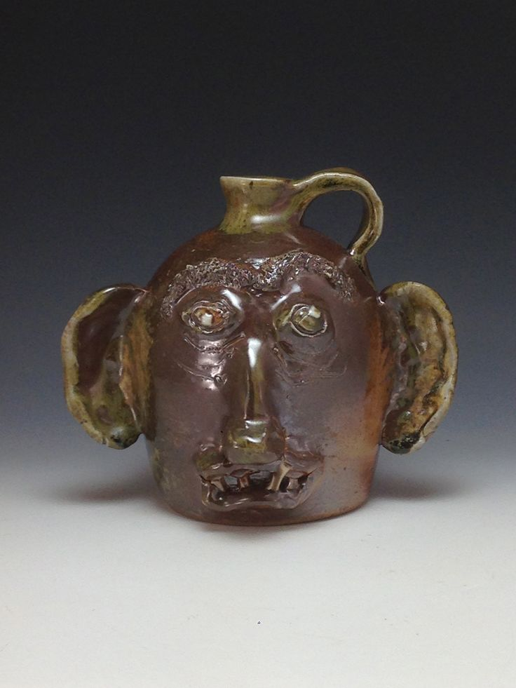 Mr Big Ears #woodfired #facejug #southernpottery #lowellwebb