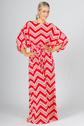 Chloe Maxi Dress - Red Graphic by Paper Scissors Frock