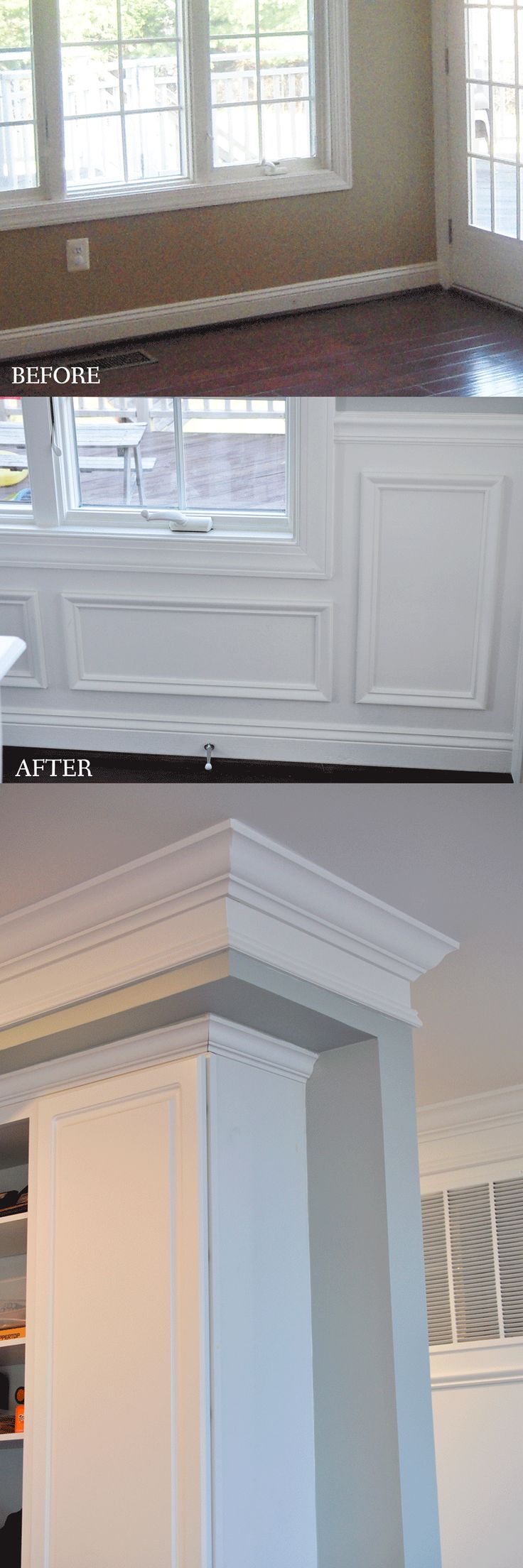 Crown molding on kitchen cabinets before and after - Adding Picture Frame Wainscoting To A Kitchen Dining Room Makes It So Classy Crown