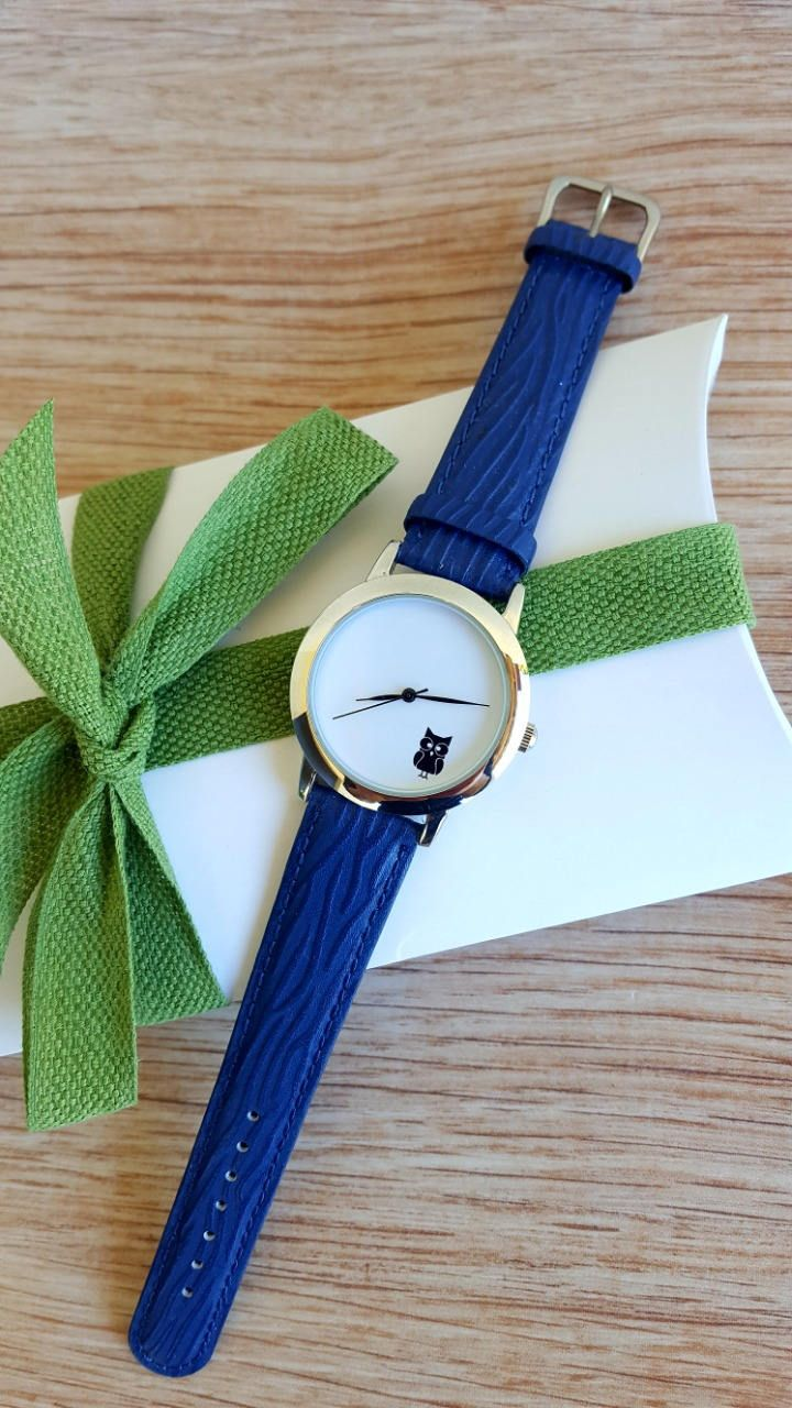 Minimalist Blue Watch with Owl motif, Unisex Watch, Women's Jewellery, Custom Made Watch, Handmade Watch, White Matte Dial, Birthday Gift by IrishFashionWatches on Etsy